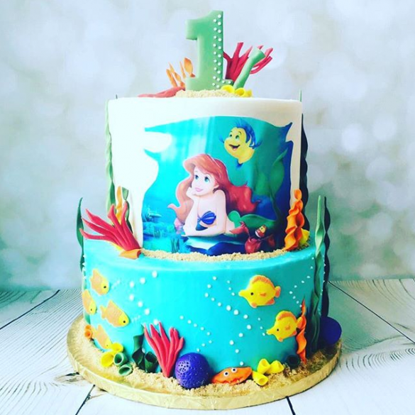 Two Tiered Little Mermaid Cake